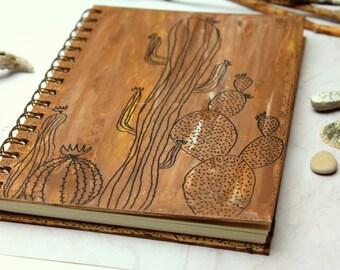 Notebook / Journal, diary,  hand painted, original painting, brown, cactus