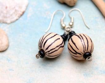 Wood earrings handpainted cream black