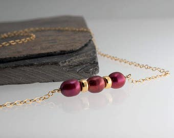 Red Pearl Bar Necklace, Gold Bar Necklace, Minimalist Necklace, Gold Necklace, Line Necklace, Carrie Necklace, Dainty Necklace, Gifts