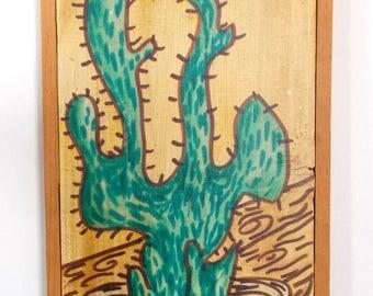 Folk Art Cactus Painted On Wood With Wood Frame