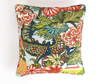 ON SALE Chiang Mai Dragon Aquamarine Pillow with self welting (Both Sides-18 X 18)
