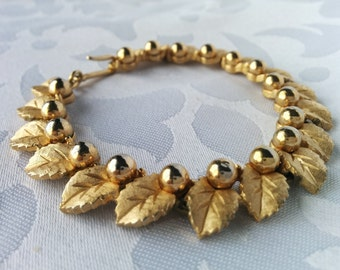 Vintage Trifari Gold Leaf Bracelet - 1950's