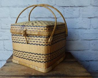 Lidded Wicker Basket Two Tone Basket