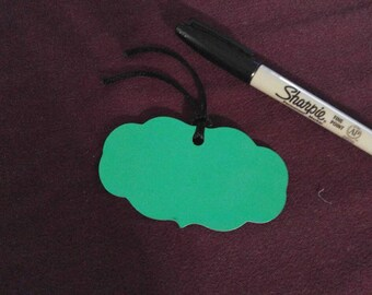 Green mirror cardstock gift tags