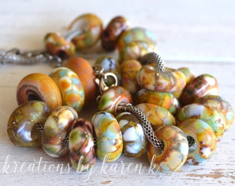 large set of big hole beads OOAK!...dread beads...set of twenty six (26) complementary beads glass lampwork charm, SRA handmade 12617-1