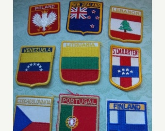 2016 SALE Assorted Country Patches Labels Lebanon Czechoslovakia New Zealand Lithuania Flags Travel Souvenir  127