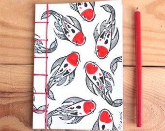 Notebook Japanese koi carp, japanese binding, hand stamped cover and red hand painted highlights, hand stitched, 40 pages = 20 white sheets