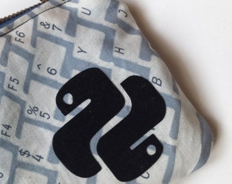 Python Programming Keyboard Theme Flocked Zippered Pouch