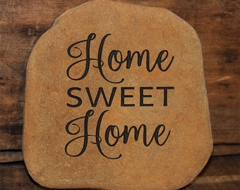Hand Engraved Rock - Home Sweet Home