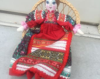 Vintage Handmade Doll Rag Doll Embroidered Dress Lady