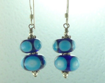 SALE: Blue & White Polka Dot Lampwork Sterling Silver Earrings