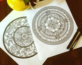 Mandala Set of 2 Adult Coloring Page Original Art Doodle Kids Activity