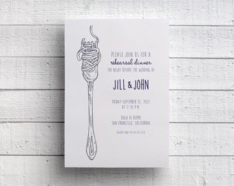 Spaghetti Dinner Invitation, Pasta Dinner Invitation, Rehearsal Dinner Invitation, Rehearsal Invitation, Italian Dinner Invitation