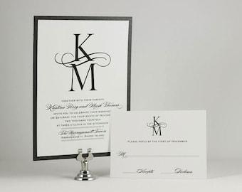 Custom Monogram Wedding Invitations, Invitation Suite, Calligraphy Wedding Invite, Elegant Wedding, Simple Wedding, Calligraphy Font