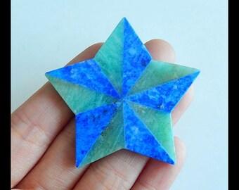 Star Pendant,Lapis Lazuli,Amazonite Intarsia Gemstone  Cabochon,49x49x3mm,12.7g(b0673)