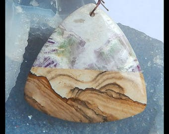 New,Purple Lace Agate,Picture Jasper,White Agate Intarsia Pendant Bead,51x50x7mm,27.6g