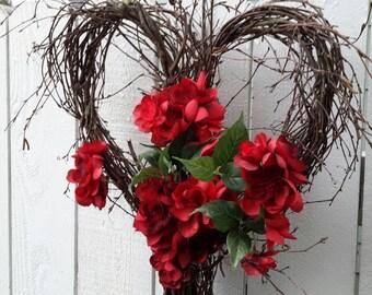Heart Wreath NOW ON SALE  Valentine Wreath  Wedding Wreath Rustic Wedding Wreath  Birch Wreath Twig Wreath Natural Wreath  Valentines Gift