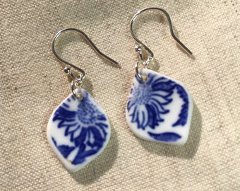 Tumbled China Earrings - home-made sea pottery, sterling silver - Tumbleworn