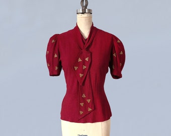 RESERVED -  RARE 1930s Blouse / 30s STUDDED Button Back Top / Berry Red Knit / Puff Sleeve / Matching Scarf