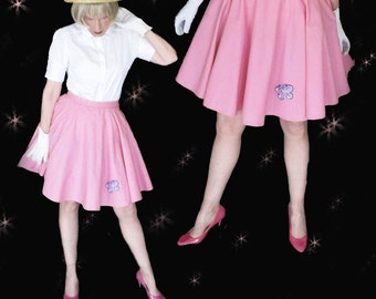 Short Circle Skirt, 50s Circle Skirt Pink Cotton Puffy Skirt, Rockabilly Skirt with Attached Crinoline or Girls Circle Skirt with Butterfly