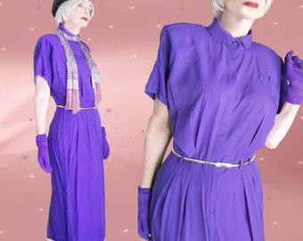 80s Purple Rayon Dress - Vintage Office Dress - Iconic Power Shoulders - Pencil Skirt & 1980s Metal Stretch Belt