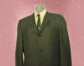 Mens Vintage Early 60s Suit Jacket - Thin Lapels - 1960s Mad Men Skinny Suit Jacket - Olive Green - Rat Pack Retro - James Bond - 44 Chest