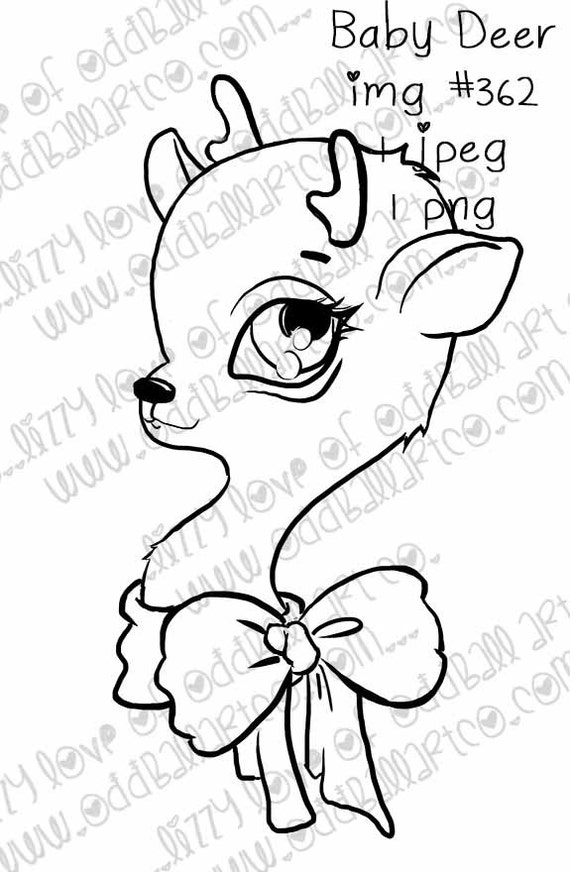 INSTANT DOWNLOAD Cute Christmas Baby Deer with Bow img No.362 by Lizzy Love