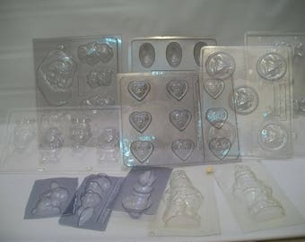 Craft Supplies, Candy Molds, Plastic Candy/Soap Molds, Easter and Christmas Candy Molds, Santa Clause Candy Molds, Large Lot Candy Molds