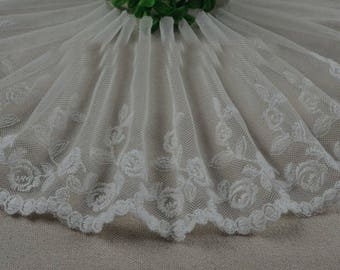 "5 yard 13.5cm 5.31"" wide ivory mesh tulle gauze fabric embroidered tapes lace trim ribbon 1264 free ship"