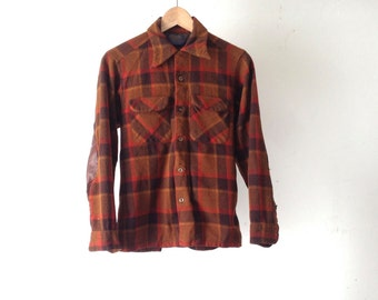 60s plaid Pendleton style HUNTERS brown & black WOOL jacket shirt