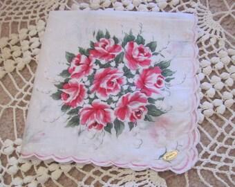 Beautiful White Floral Cotton Hankie Handkerchief -  - Unused