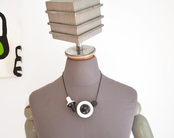 Statement Necklace - Wood - Hand Painted - Adjustable - Modern Abstract Art