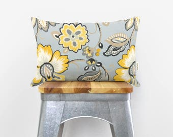 Botanical outdoor pillow case in sunny yellow, grey, mint, taupe & white / 12x18 floral cushion cover / Patio and Garden decor