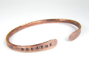 BREATHE Stamped Copper Wire Bangle, Personalized Copper Bracelet, Antiqued Copper Bangle for Men & Women in 8 Gauge Wire, Made To Order