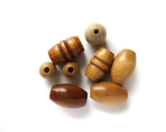 8 Large Assorted Wooden Vintage Beads
