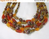 ON SALE Vintage Necklace 5 Strand Art Glass Bead Amber Satin Brown Speckled Gold Tone