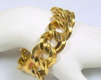 Spring Special Sale Vintage Monet Bracelet Bright Gold Tone Large Double Link Flat Chain