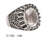 4pcs Antiqued Silver Color  Alloy Metal  Adjustable  Rings14mm Round Cameo Setting
