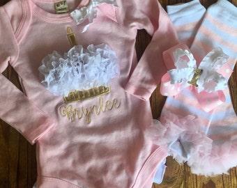 1st Birthday Girl Outfit - First Birthday Set - Cupcake Creeper - Personalized Cupcake Ruffle Bottom Creeper -Cake Smash Set