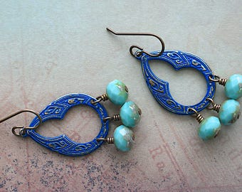 Navy Patina Drops / Blue Picasso Glass Rondells / Brass Earrings