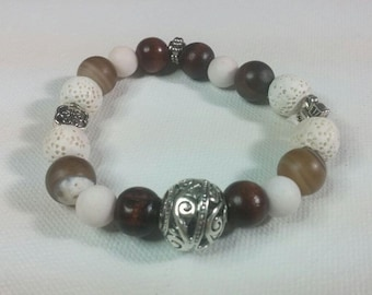 White Lava Bead, White Jade, Brown Striped Agate Essential Oil Diffuser Bracelet Healing and Empowering Gemstones