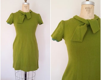 Vintage 1960s Stretchy Wool Dress / Fitted Moss Green Dress / Mod Dress / Christmas Dress / Small