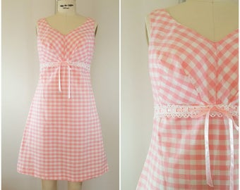 Vintage 1960s Sundress / Pink and White Gingham Summer Dress / Small Medium