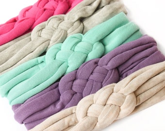 Pick 5 || Knotted Braided Infant Soft Jersey Baby Newborn Headbands Turban Headwrap Baby Shower Gift Celtic Sailor Knot Comfy Workout Yoga