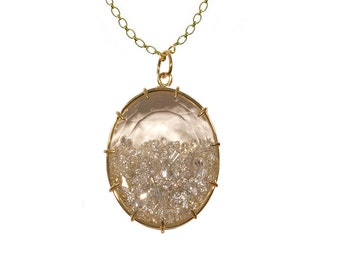 Oval White Sapphire Shake Necklace - 18k