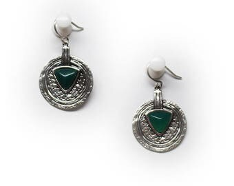 Sterling Silver Emerald Agate Shield Hook Earrings