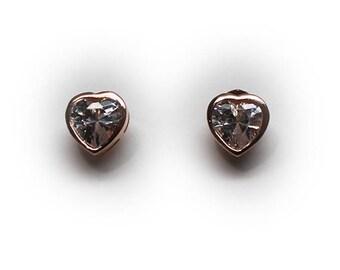 Sterling Silver Rose Gold Finish 7.5 MM Heart Shaped CZ Stud Earrings