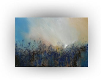 Abstract Brown and Blue Modern Painting - 24 x 36 - Skye Taylor