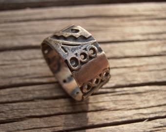 Tribal Native Sterling Silver Ring (tribal silver ring medieval ancient pagan primitive steampunk) Size 6 1/2
