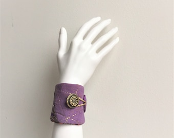 purple wrist cuff - boho gypsy wrist cuff - cotton purple india wrist cuff - golden accents textile bracelet- mothers day gift, gift for her